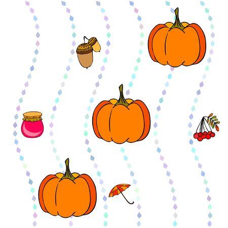 Vector of Autumn, Fall season theme, pumpkin, jam, umbrella. Set of cute colorful icon collection. Vector background Archivio Fotografico - 135040349