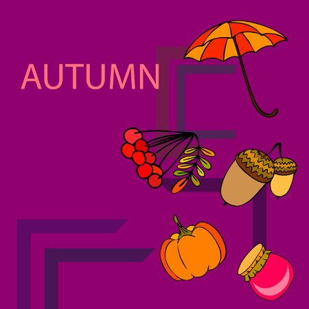 Vector of Autumn, Fall season theme, pumpkin, jam, umbrella. Set of cute colorful icon collection. Vector background