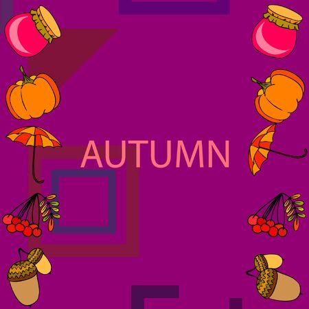 Vector of Autumn, Fall season theme, pumpkin, jam, umbrella. Set of cute colorful icon collection. Vector background Stock fotó - 133894787