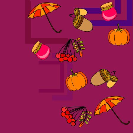 Vector of Autumn, Fall season theme, pumpkin, jam, umbrella. Set of cute colorful icon collection. Vector background Imagens - 133894789
