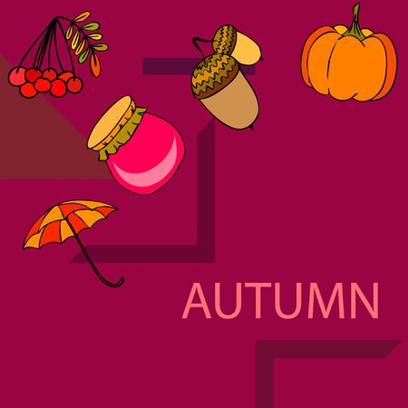 Vector of Autumn, Fall season theme, pumpkin, jam, umbrella. Set of cute colorful icon collection. Vector background Stock fotó - 133894795