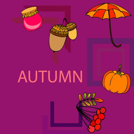 Vector of Autumn, Fall season theme, pumpkin, jam, umbrella. Set of cute colorful icon collection. Vector background Stock fotó - 133894796