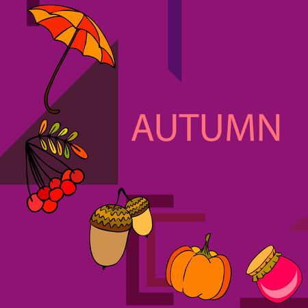 Vector of Autumn, Fall season theme, pumpkin, jam, umbrella. Set of cute colorful icon collection. Vector background Stock fotó - 133894799