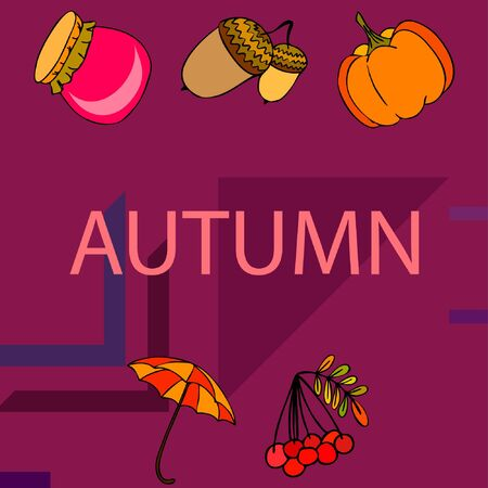 Vector of Autumn, Fall season theme, pumpkin, jam, umbrella. Set of cute colorful icon collection. Vector background Imagens - 133894800