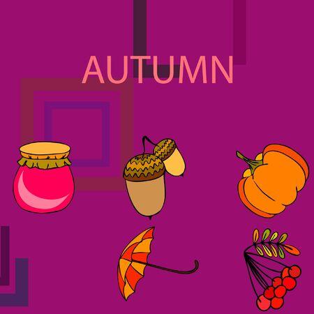 Vector of Autumn, Fall season theme, pumpkin, jam, umbrella. Set of cute colorful icon collection. Vector background Stock fotó - 133894802