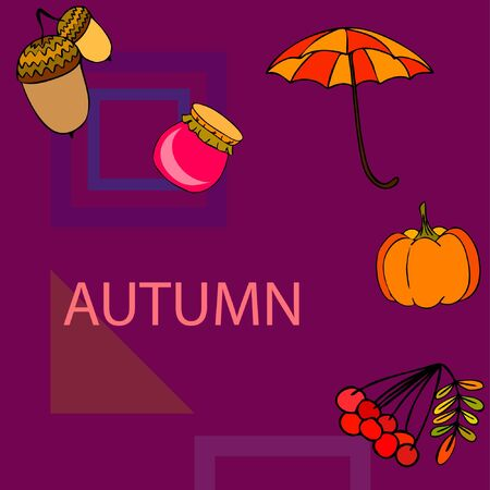 Vector of Autumn, Fall season theme, pumpkin, jam, umbrella. Set of cute colorful icon collection. Vector background Imagens - 133894803
