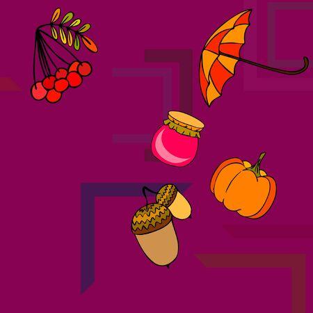Vector of Autumn, Fall season theme, pumpkin, jam, umbrella. Set of cute colorful icon collection. Vector background Stock fotó - 133894809