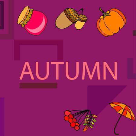 Vector of Autumn, Fall season theme, pumpkin, jam, umbrella. Set of cute colorful icon collection. Vector background Imagens - 133894810