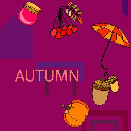 Vector of Autumn, Fall season theme, pumpkin, jam, umbrella. Set of cute colorful icon collection. Vector background
