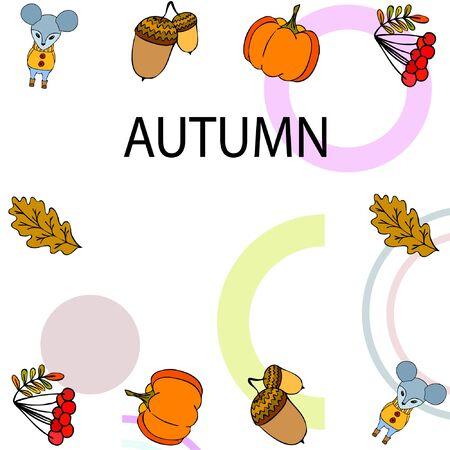 Autumn card with cartoon mouse, autumn leaves, pumpkins. Vector illustration Stock fotó - 134792559