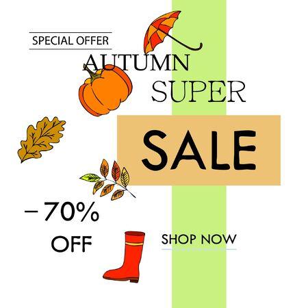 Autumn sale banner template design, Special offer. Ad concept. Vector illustration Stock fotó - 134792563