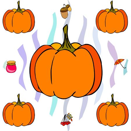 Vector of Autumn, Fall season theme, pumpkin, jam, umbrella. Set of cute colorful icon collection. Vector background Imagens - 133956470