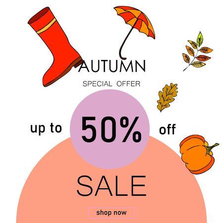 Autumn sale banner template design, Special offer. Ad concept. Vector illustration Stock fotó - 133895020