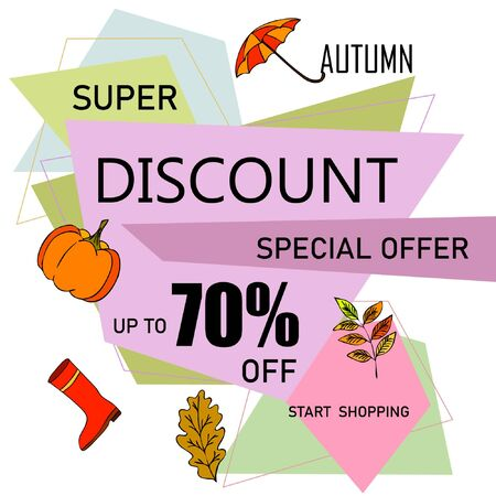 Autumn sale banner template design, Special offer. Ad concept. Vector illustration Stock fotó - 133895032