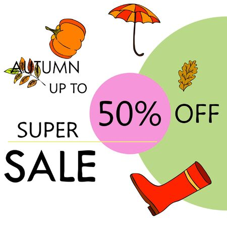 Autumn sale banner template design, Special offer. Ad concept. Vector illustration Stock fotó - 133895033