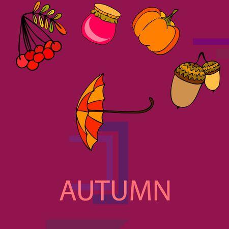 Vector of Autumn, Fall season theme, pumpkin, jam, umbrella. Set of cute colorful icon collection. Vector background Imagens - 133895036