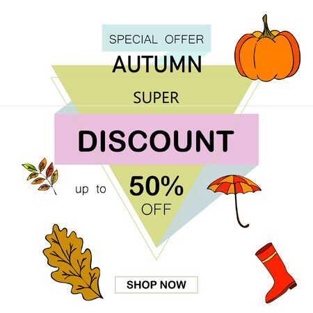 Autumn sale banner template design, Special offer. Ad concept. Vector illustration Stock fotó - 133895035