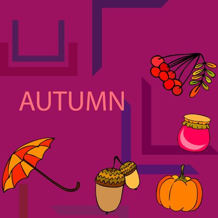 Vector of Autumn, Fall season theme, pumpkin, jam, umbrella. Set of cute colorful icon collection. Vector background Stock fotó - 133895038