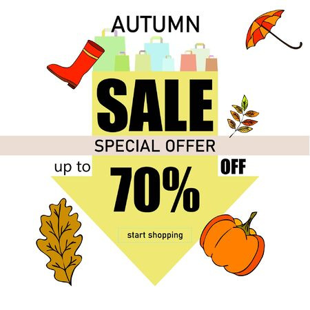 Autumn sale banner template design, Special offer. Ad concept. Vector illustration Stock fotó - 133895044