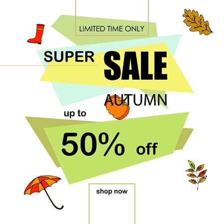 Autumn sale banner template design, Special offer. Ad concept. Vector illustration Illusztráció