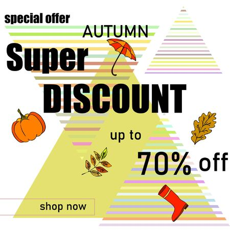 Autumn sale banner template design, Special offer. Ad concept. Vector illustration Stock fotó - 133895053
