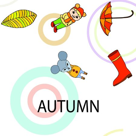 Postcard with cute cartoon girl, umbrella and mouse. Rainy weather. Falling leaves. Vector image