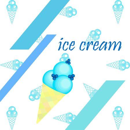 Sweet cartoon ice cream. Vector colorful ice creams