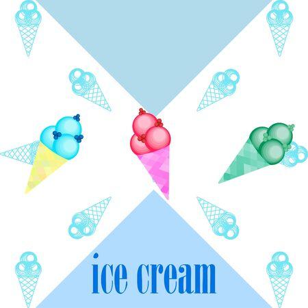 Sweet cartoon ice cream. Vector colorful ice creams Ilustração Vetorial