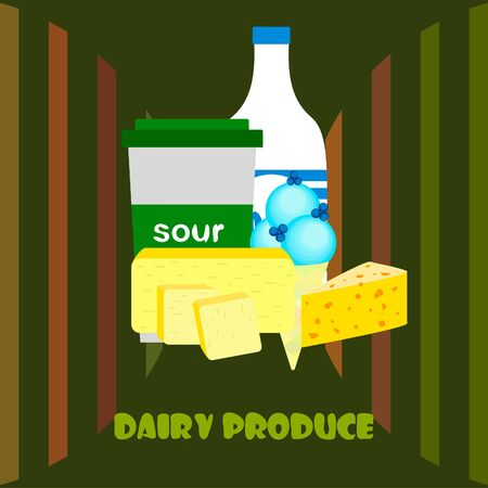 Milk, sour, cheese, ise cream, butter. Vector illustration of dairy products. 向量圖像