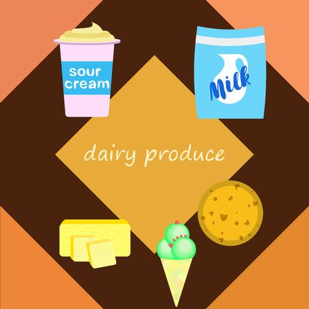 Milk, sour, cheese, ise cream, butter. Vector illustration of dairy products. Illustration