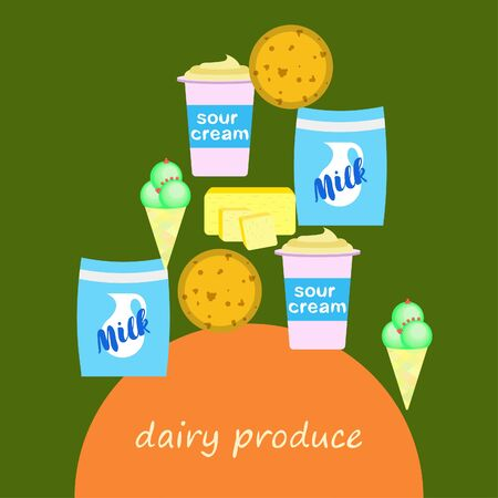 Milk, sour, cheese, ice cream, butter. Vector illustration of dairy products.