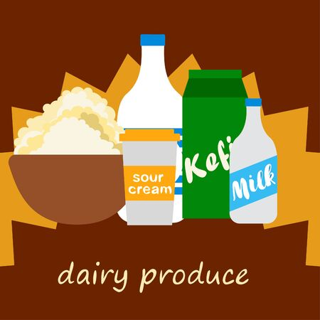 Milk sour kefir cottage cheese. Vector illustration of dairy products.