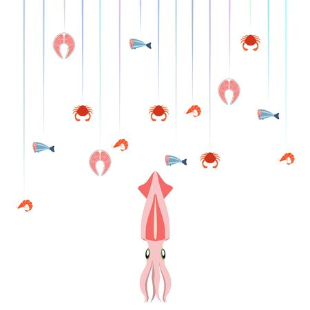 Fish shrimp crab squid. Vector seafood. Food and restaurant design.