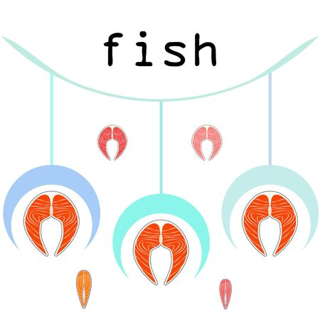 Fish, seafood. Vector seafood. Food and restaurant design
