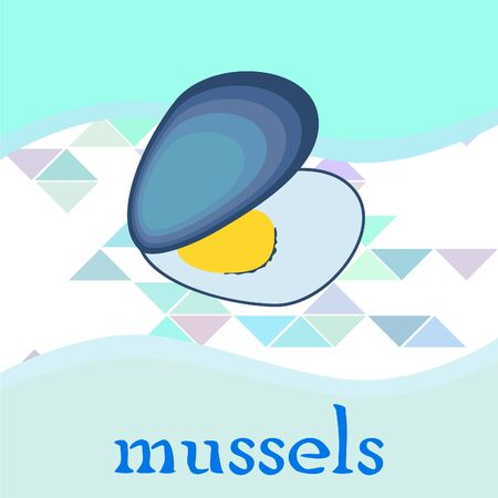 Mussels fresh seafood. Vector backgroung. Food and restaurant design