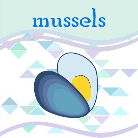 Mussels fresh seafood. Vector backgroung. Food and restaurant design 写真素材 - 134130258