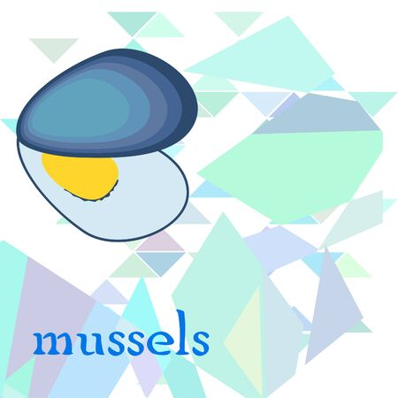 Mussels fresh seafood. Vector backgroung. Food and restaurant design 写真素材 - 134130260