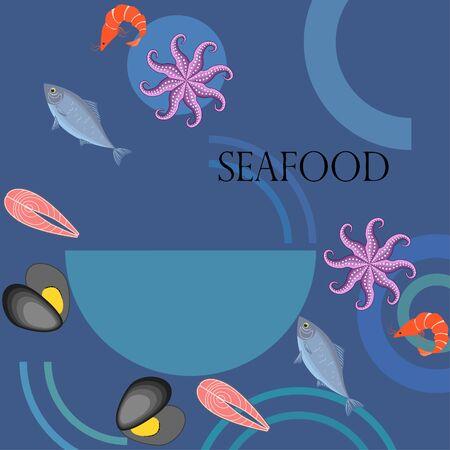 Seafood vector illustration. Fresh sea fish mussel shrimp octopus. 写真素材 - 134130262