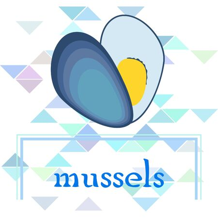 Mussels fresh seafood. Vector backgroung. Food and restaurant design 写真素材 - 134130306