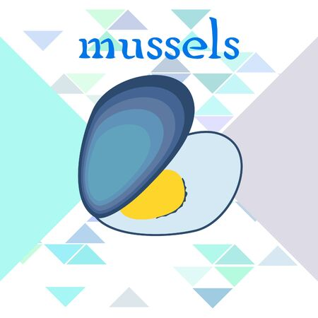 Mussels fresh seafood. Vector backgroung. Food and restaurant design 写真素材 - 134130308