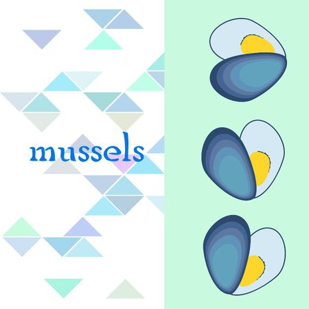 Mussels fresh seafood. Vector backgroung. Food and restaurant design 写真素材 - 134130311