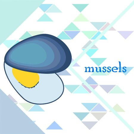 Mussels fresh seafood. Vector backgroung. Food and restaurant design 写真素材 - 134133098