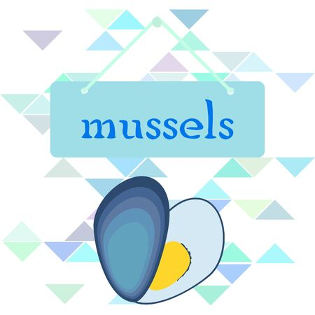 Mussels fresh seafood. Vector backgroung. Food and restaurant design 写真素材 - 134133101