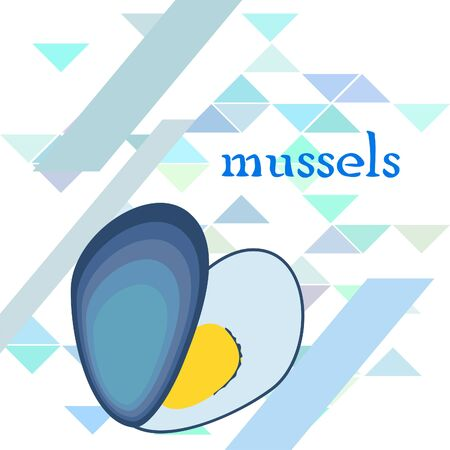 Mussels fresh seafood. Vector backgroung. Food and restaurant design 写真素材 - 134133104