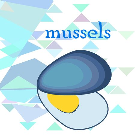 Mussels fresh seafood. Vector backgroung. Food and restaurant design 写真素材 - 134133105