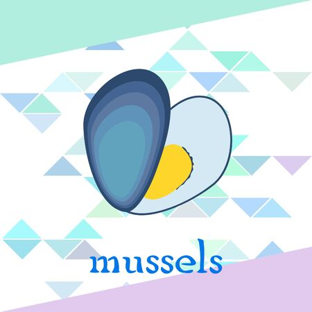 Mussels fresh seafood. Vector backgroung. Food and restaurant design 写真素材 - 134133107