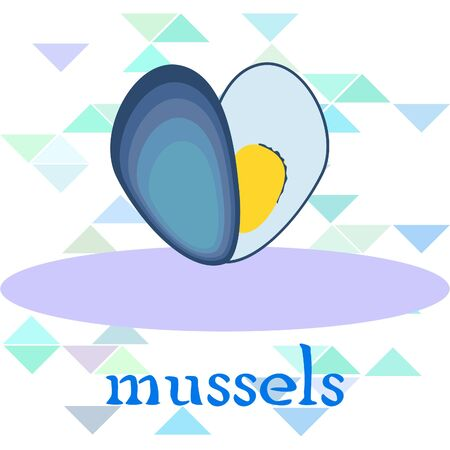Mussels fresh seafood. Vector backgroung. Food and restaurant design 写真素材 - 134133111