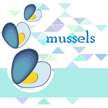 Mussels fresh seafood. Vector backgroung. Food and restaurant design 写真素材 - 134133113