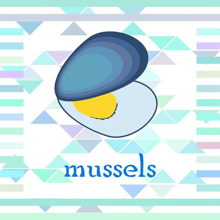 Mussels fresh seafood. Vector backgroung. Food and restaurant design 写真素材 - 134133115