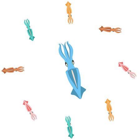 Squid fresh seafood. Vector backgroung. Food and restaurant design Иллюстрация